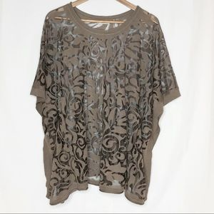 Soft Surroundings Semi Sheer Burnout Poncho Taupe